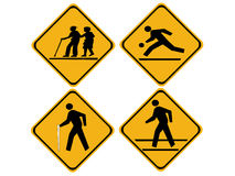 Pedestrian warning sign Stock Image