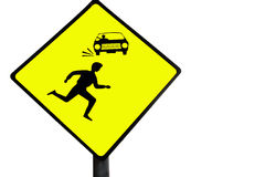 Pedestrian warning sign stock images