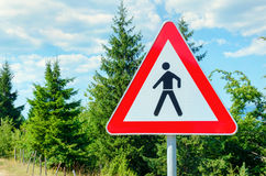 Pedestrian warning sign Royalty Free Stock Photo