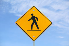 Pedestrian Warning Sign Royalty Free Stock Photos