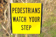 Pedestrian warning sign Stock Photos