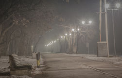 Pedestrian way on the foggy night Royalty Free Stock Photos