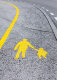 pedestrian yellow sign Royalty Free Stock Photo