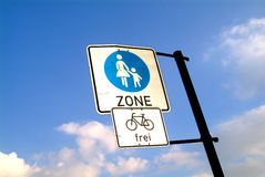 Pedestrian zone and bicycle Stock Photo