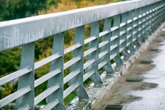 Pedestrian zone on the car bridge with guardrails Royalty Free Stock Photography
