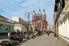 Pedestrian zone near the St. Clement's Church. Moscow, Russia. Royalty Free Stock Photos