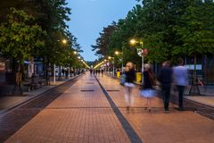 Pedestrian zone in Palanga stock photography