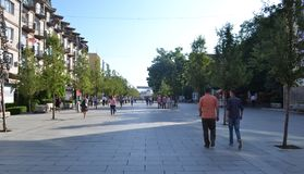 Pedestrian zone in Prishtina, Kosovo. Royalty Free Stock Photos