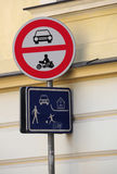 Pedestrian zone sign Prague Stock Images