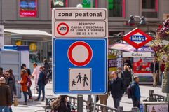 Pedestrian zone street sign at Calleo Square in Madrid Stock Image