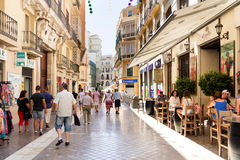 Pedestrianised street in Malaga Royalty Free Stock Photography