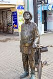 KALUGA, RUSSIA - AUGUST 2017: Monument to the Scientist Konstantin Tsiolkovsky with a bicycle stock photo