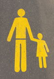 For pedestrians only. Sign on the road symbolizing pedestrians stock photo