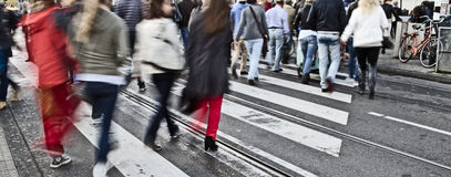 Pedestrians on zebra crossing Stock Photo