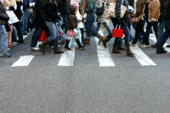 Pedestrians. Pedestrian in New York City during Christmas holiday Stock Photo