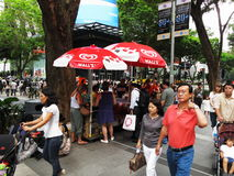 Pedestrians along Orchard Road Royalty Free Stock Photography