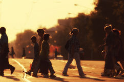 Pedestrians in backlit Royalty Free Stock Photo
