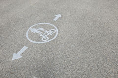 Pedestrians and bicycle lane road sign Stock Photos