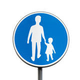 Pedestrians Only. Blue round road sign Royalty Free Stock Image