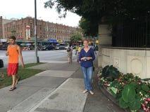Pedestrians On Brighton Beach Avenue Stock Image