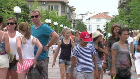 Pedestrians in the center of Pomorie in Bulgaria Royalty Free Stock Photography