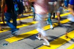 Pedestrians in Central of Hong Kong Stock Photos
