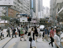 Pedestrians in central Hong Kong Royalty Free Stock Photos