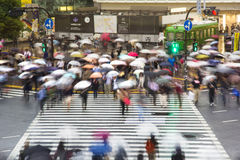 Pedestrians cross at Shibuya Crossing Royalty Free Stock Photo