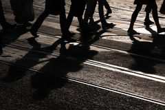 Pedestrians crossing Stock Photo