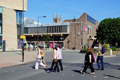 Pedestrians crossing the road, Derby. Royalty Free Stock Photography