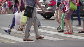 Pedestrians Crossing Street Crowded Crosswalk City Life stock footage