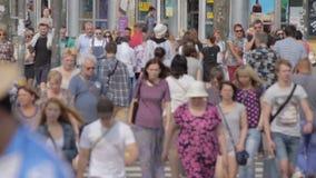 Pedestrians Crossing Street Slow Motion Saint Peterburg 01 August 2016. Pedestrians Crossing Street Slow Motion Big City Traffic Saint Peterburg 01 August 2016 stock footage