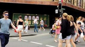 Pedestrians Crossing Sydney City Street, Australia stock video footage