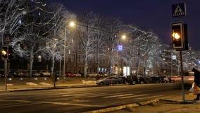 Pedestrians crossing urban street. 4K time lapse video. Night shot. 4K stock video