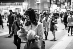 Pedestrians crosswalk at Shibuya district in Tokyo, Japan Stock Photography