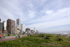 Pedestrians Cyclists and Vegatation on Beachfront in Durban Royalty Free Stock Photo