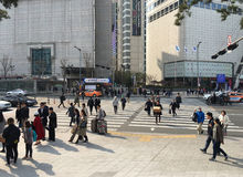Pedestrians by the Dongdaemun History & Culture Park Station, Se Stock Photos
