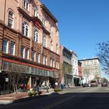 Pedestrians in Downtown Wilmington, North Carolina During Lunch Hour Stock Photo