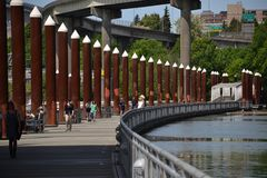 East Bank Esplanade, Portland, Oregon. Pedestrians enjoy the floating section of the East Bank Esplanade along the Willamette River in Portland, Oregon Royalty Free Stock Photos