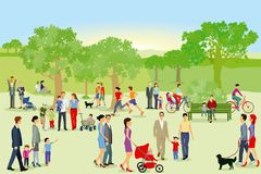 Pedestrians and families having fun in park. An illustration of pedestrians and families enjoying their free time in a public park Stock Photography