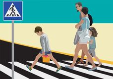 Pedestrians. Family crossing street. Vector color illustration Stock Photos