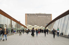Pedestrians on footbridge, Stratford, London Stock Photography