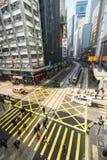 Pedestrians moving on zebra crosswalk at Hong Kong Stock Images