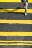 Pedestrians moving at zebra crosswalk. Hong Kong Royalty Free Stock Images