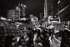 Pedestrians at night, Central District, Hong Kong, China Royalty Free Stock Photos