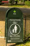 Pedestrians only, No cycling sign in Hyde park. London. UK royalty free stock photos