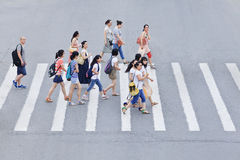 Pedestrians On A Zebra Crossing, Beijing, China Royalty Free Stock Image