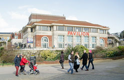Pedestrians and Pavilion Theatre, Bournemouth Royalty Free Stock Photography