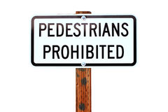Pedestrians Prohibited sign. Pedestrians Prohibited road sign isolated on white Stock Images