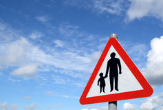 Pedestrians in road sign. Royalty Free Stock Photo